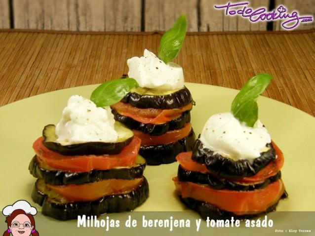 Milhojas de berenjena y tomates