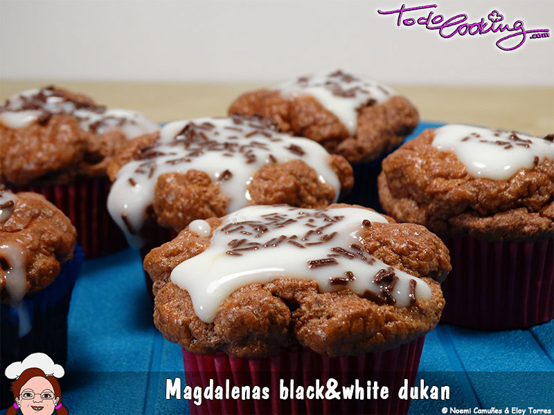 Magdalenas Black & White Dukan postres sin azúcar