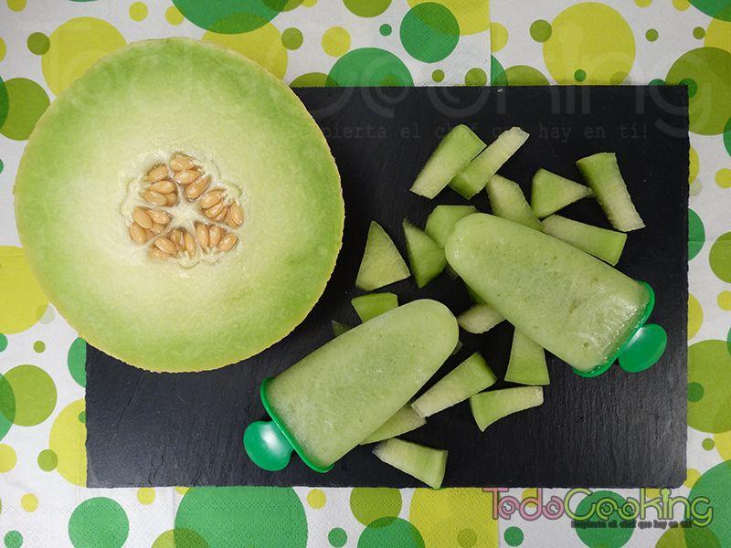 Polos de melón con hierbabuena