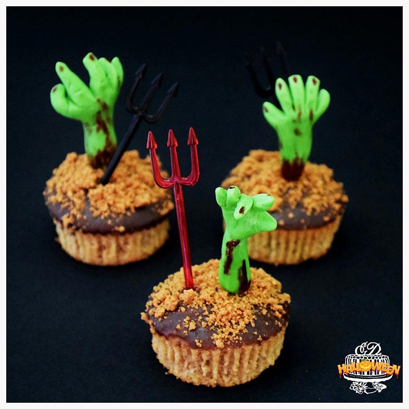 Cupcakes calabaza zombie