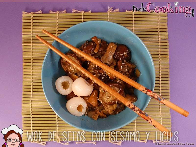 Wok-setas-Semamo-Lichis, recetas saludables
