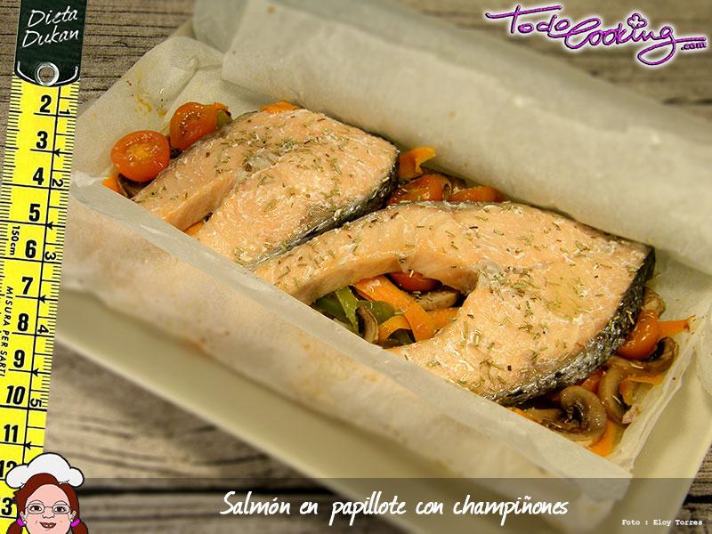 Salm n en papillote con champi ones apto dukan - Salmon con champinones ...