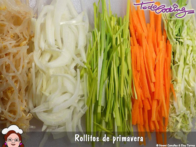 Corte de verduras rollitos