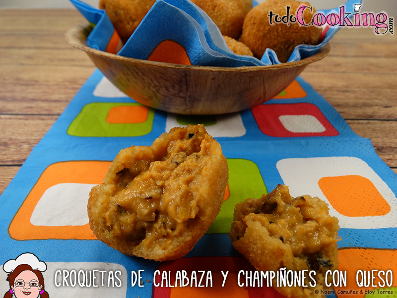 Croquetas de calabaza y champiñones con queso