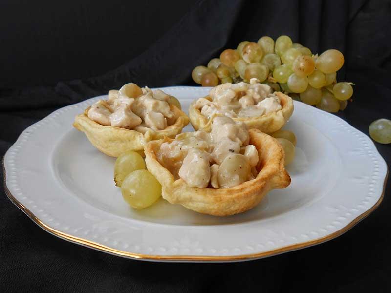 tartaletas-pollo-salsa-uvas recetas de pollo y pavo