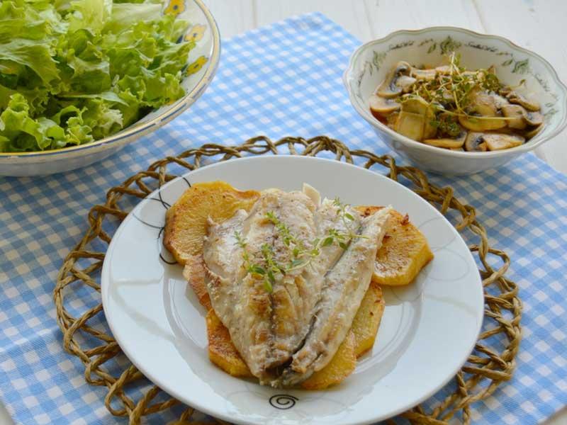 ##Jurel-a-la-plancha-con-champiñones-en-escabeche pescados y marisco