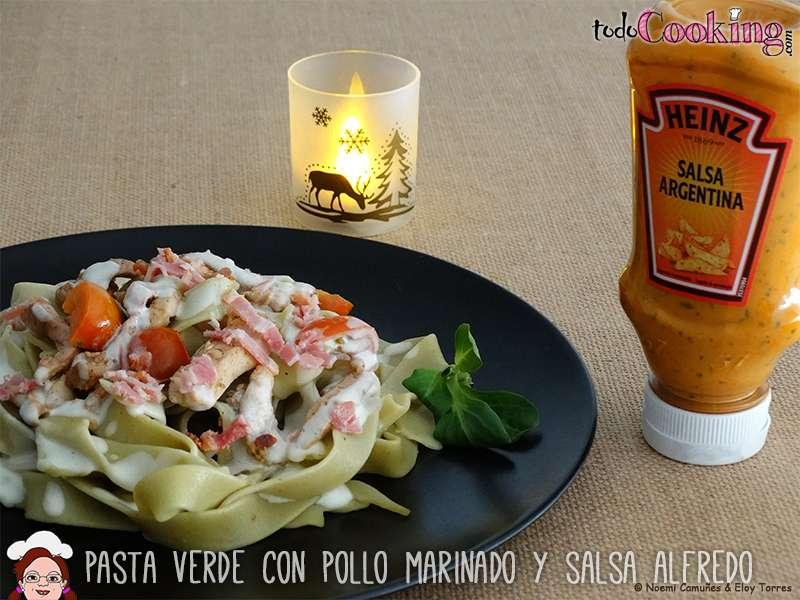 Pasta-Verde-Pollo-Marinado-Salsa-Alfredo