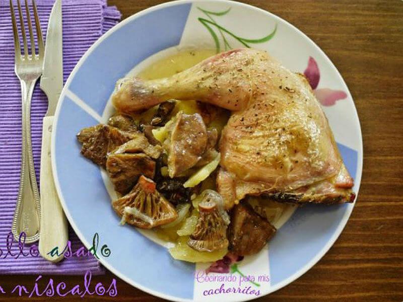 ##Pollo asado con níscalos
