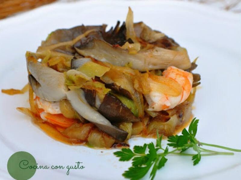 ##Salteado de verduras, setas y gambas